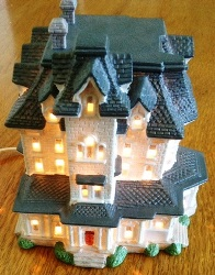 Norland House - ceramic reproduction of Norland with light inside - $20